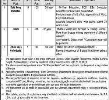 Punjab Wildlife and Parks Department Jobs 2019 Lahore Latest