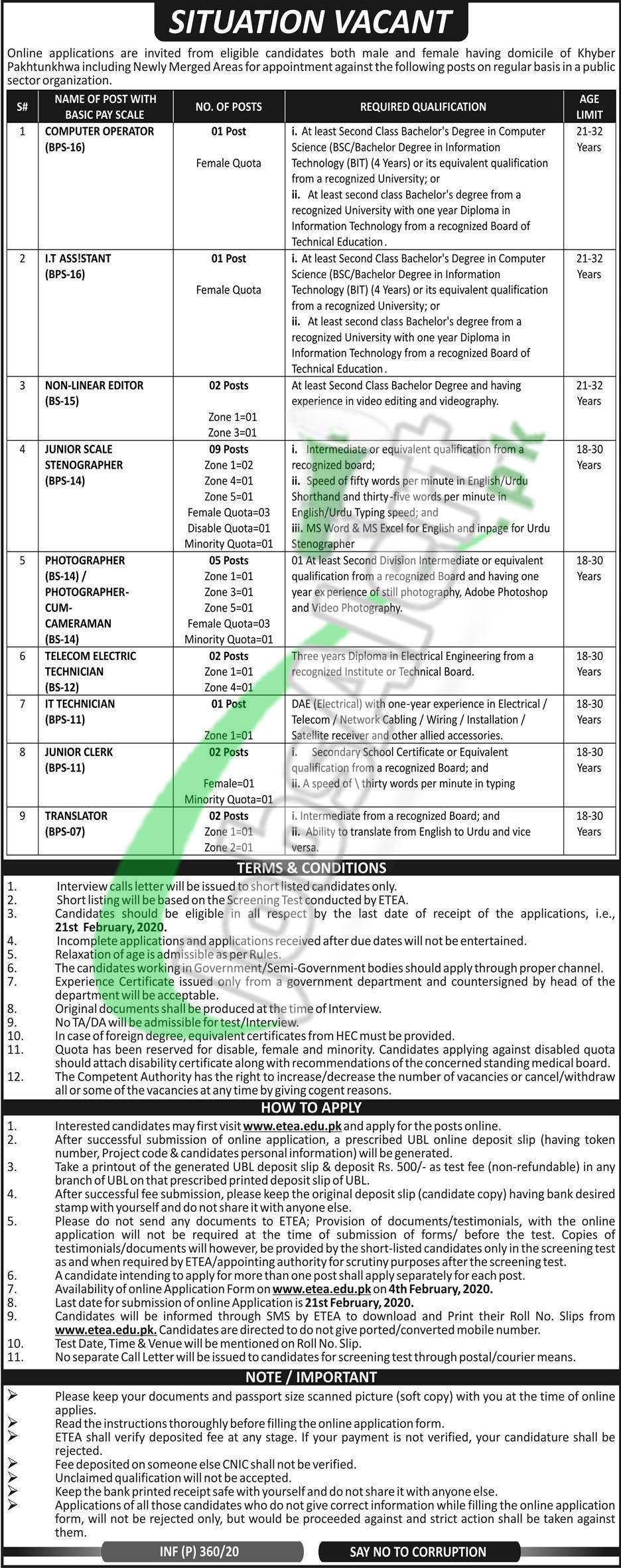 Public Sector Organization KPK Job Opportunities