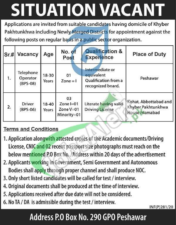 Situation Vacant Govt of KPK Peshawar
